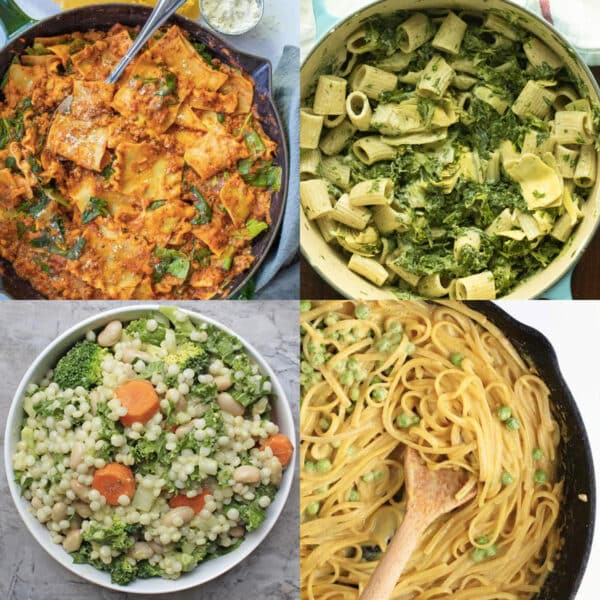 image collage of vegan pasta recipes: skillet lasagne, spinach artichoke pasta, Israeli couscous salad, spaghetti with peas