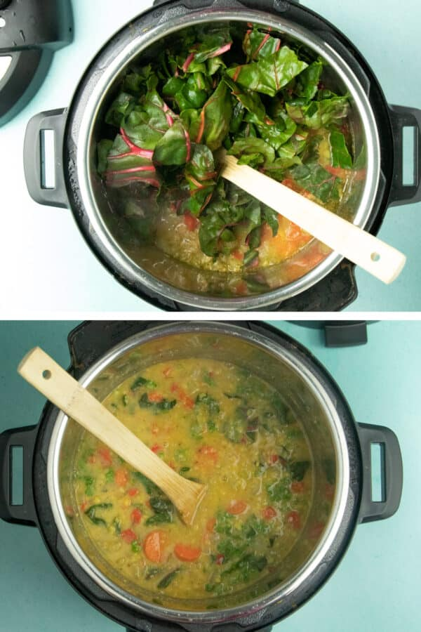 image collage showing the raw Swiss chard in the pot, then what it looks like after it wilts into the soup