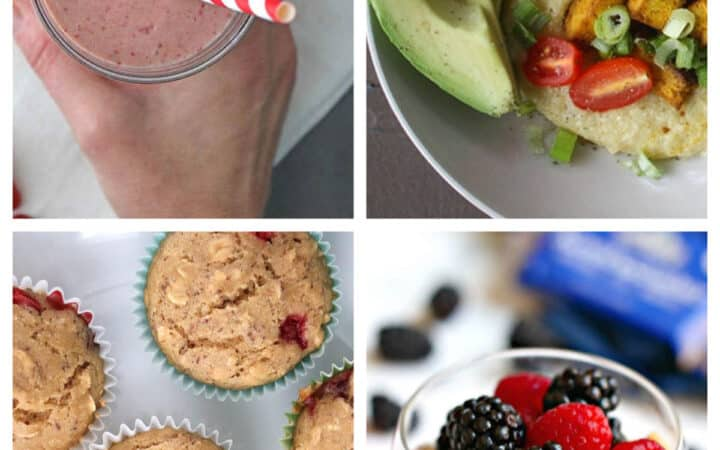 image collage of a smoothie, a grit bowl, muffins, and a vegan yogurt parfait