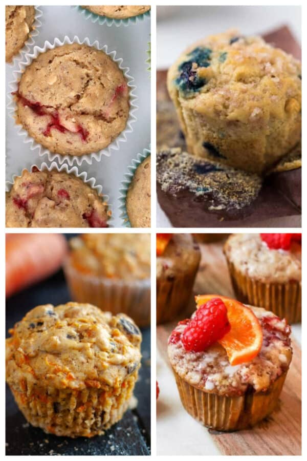 image collage of different types of vegan muffins