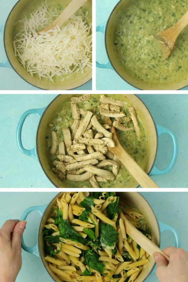 image collage showing adding the cheese, the vegan cream sauce after the cheese melts, and adding the vegan chicken, pasta, and spinach to the pan