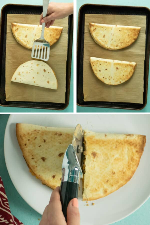 image collage showing how to flip and slice the quesadillas