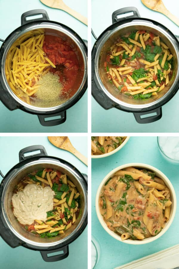 image collage showing the uncooked pasta in the Instant Pot, adding the spinach, adding the pesto cream, and then served in a bowl