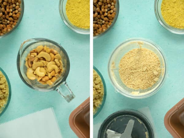 side-by-side photo of cashews in a measuring cup and cashew meal in the blender, so you can see the texture