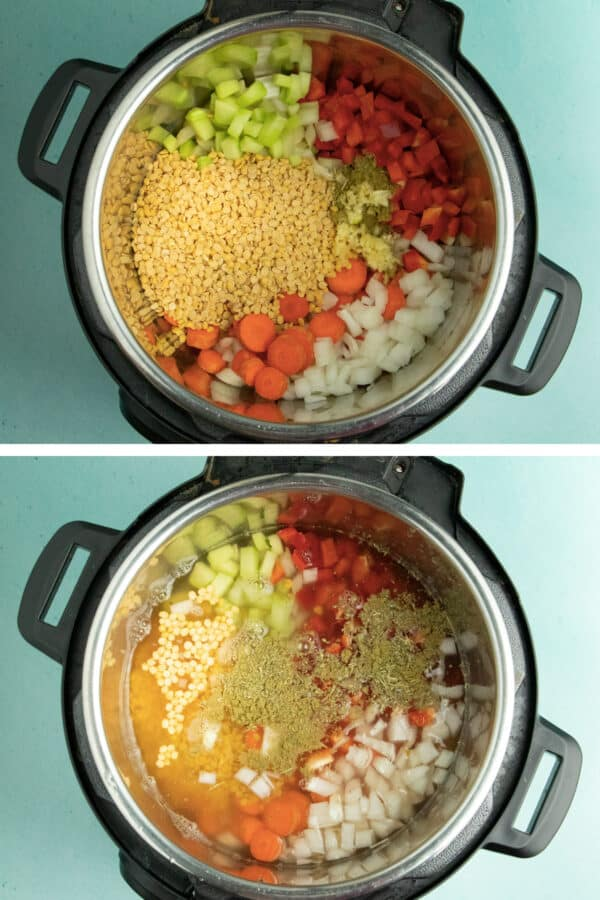 image collage of overhead photos of an Instant Pot with dry split pea soup ingredients and with the water and broth added