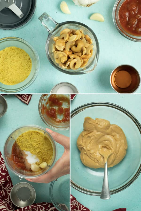 image collage showing cashew queso ingredients on a table, then in the blender, then the queso spooned into a large bowl