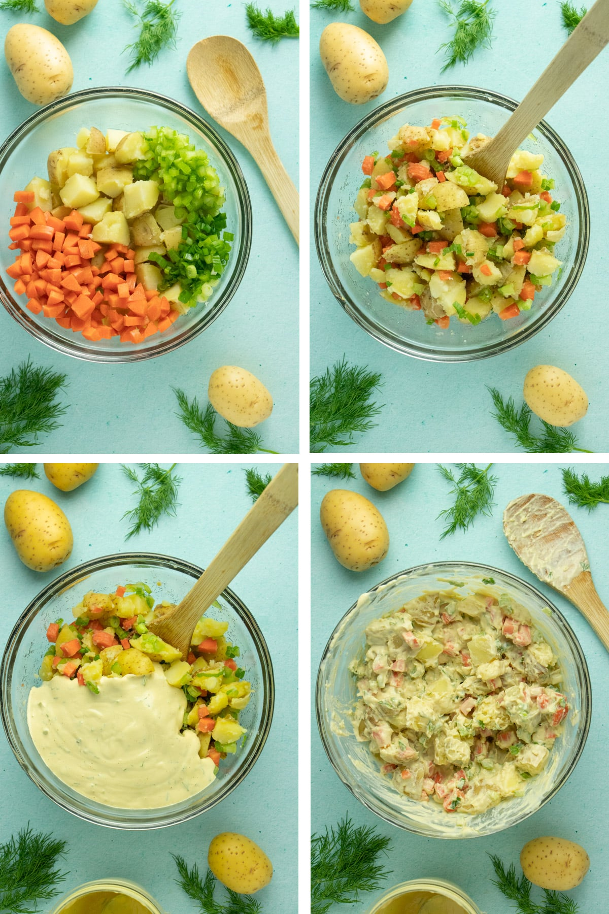 image collage showing mixing the potatoes and vegetables, adding the dill sauce, and mixing up the potato salad in a glass mixing bowl
