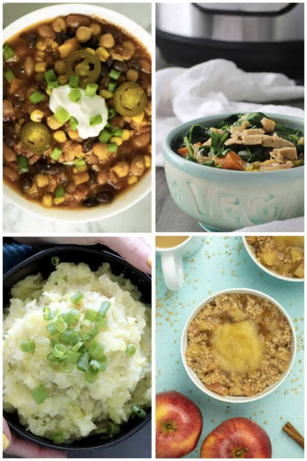 image collage: vegan chili, vegan chicken stew, colcannon, and steel cut oatmeal