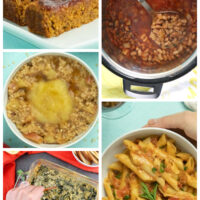 image collage of pantry recipes: vegan meatloaf, pinto beans, steel cut oatmeal, spinach dip, and pasta