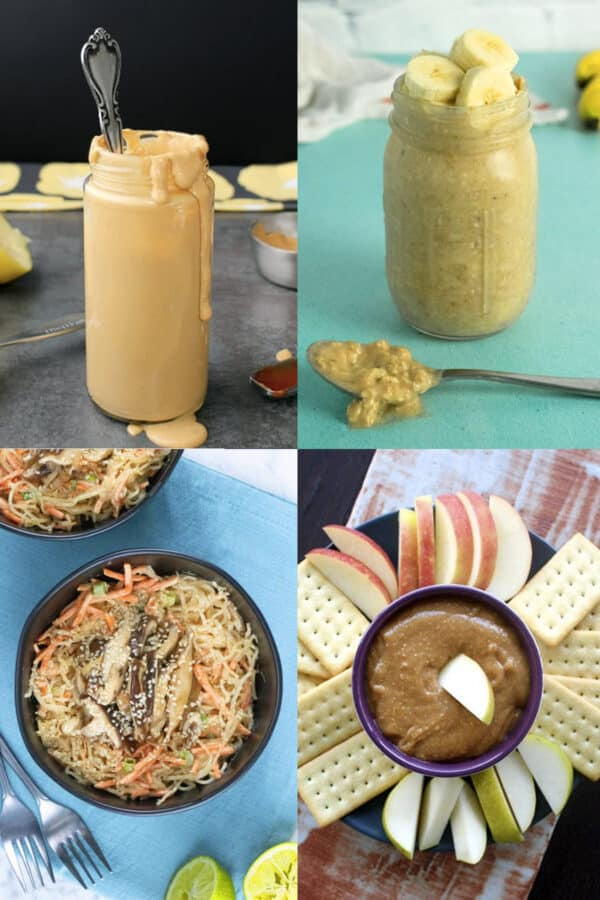 image collage: peanut sauce, peanut butter overnight oats, kelp noodles with peanut sauce, whipped peanut butter dip