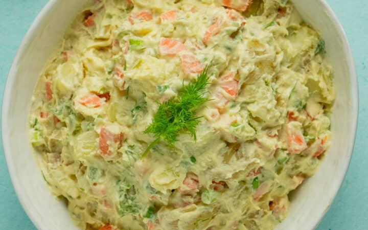 serving bowl of vegan potato salad