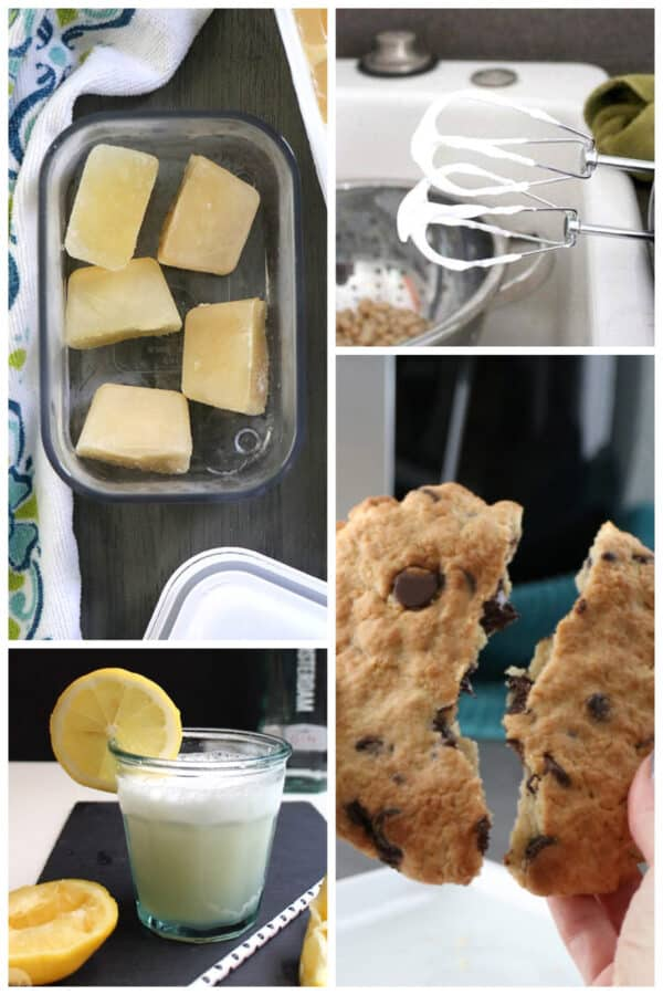 image collage showing frozen aquafaba, whipped aquafaba, a lemon flip cocktail, and a chocolate chip cookie