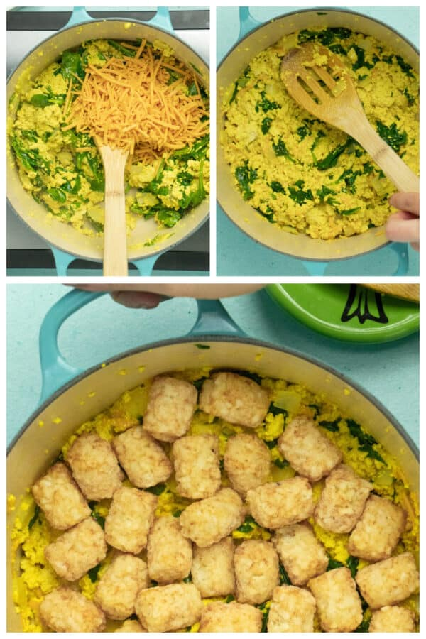 image collage showing adding cheese to the tofu scramble, flattening the top of the finished scramble, and how to arrange the tater tots on top