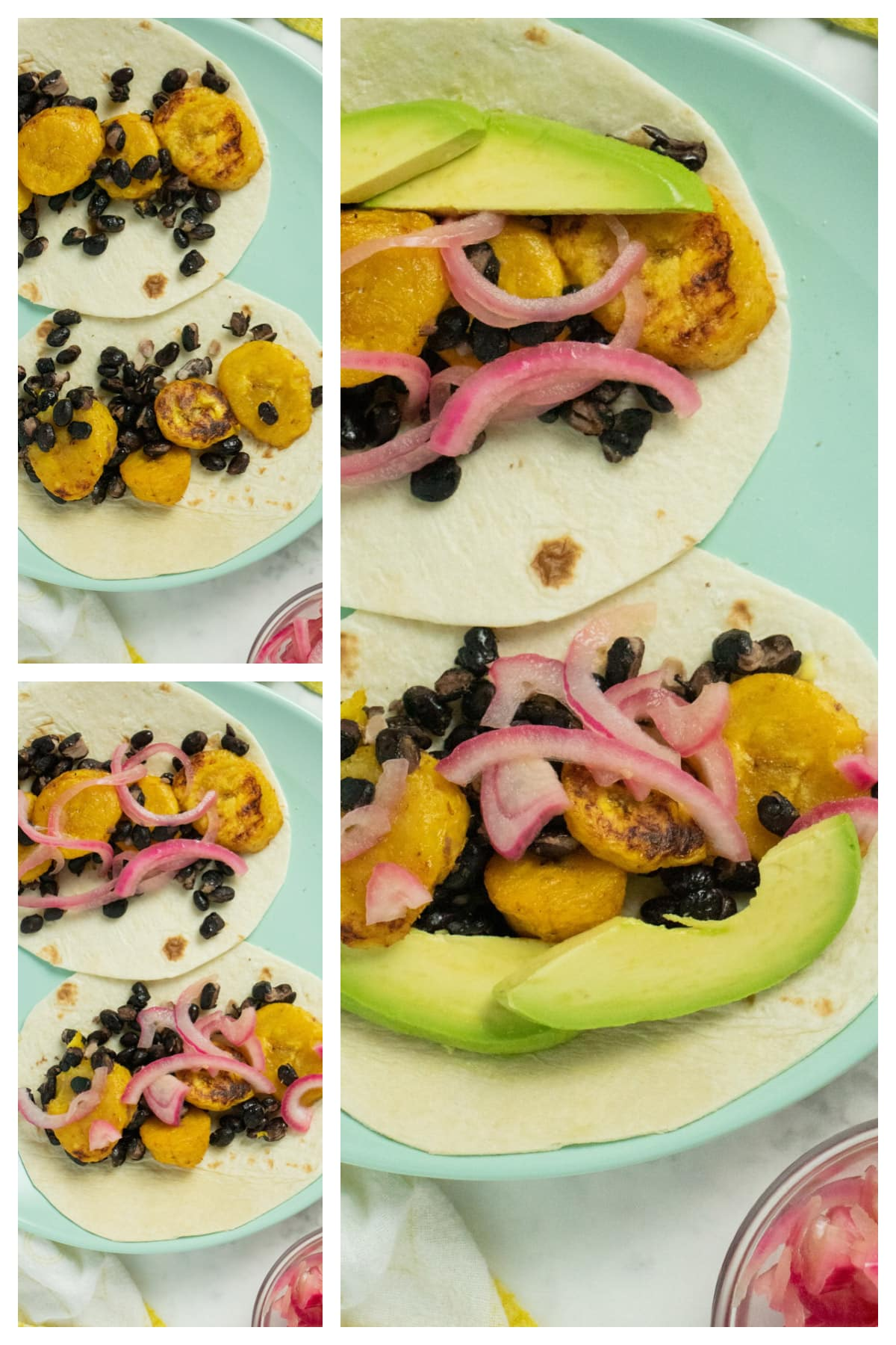 image collage showing the plantains and beans on the tortilla, then the tacos with the onions added and with the avocado slices