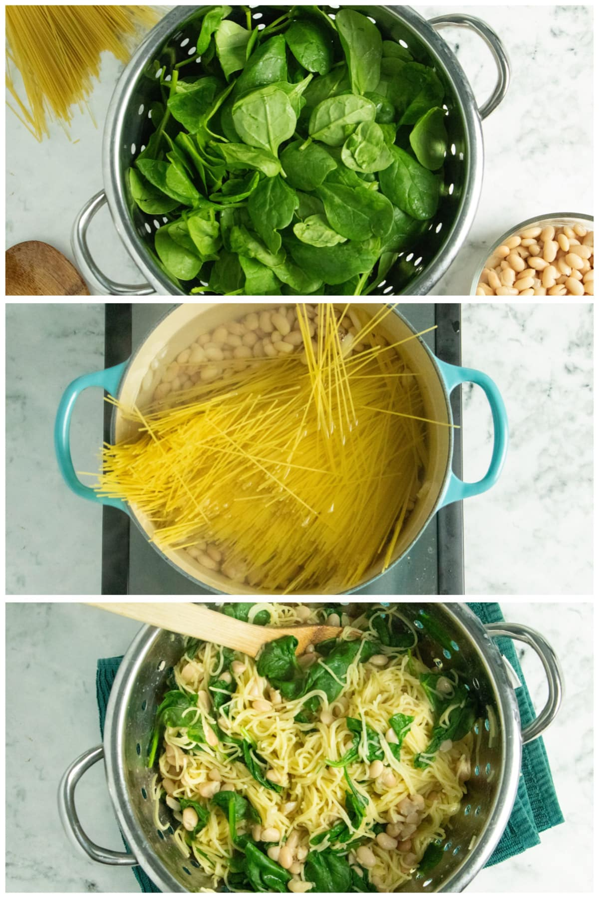 image collage showing uncooked spinach in the colander, pasta and beans in the pan, and then everything stirred together in the colander with a wooden spoon