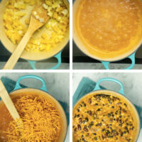 image collage showing sauteed vegetables, bubbly cream sauce, adding shredded cheese, then adding the beans to the pot