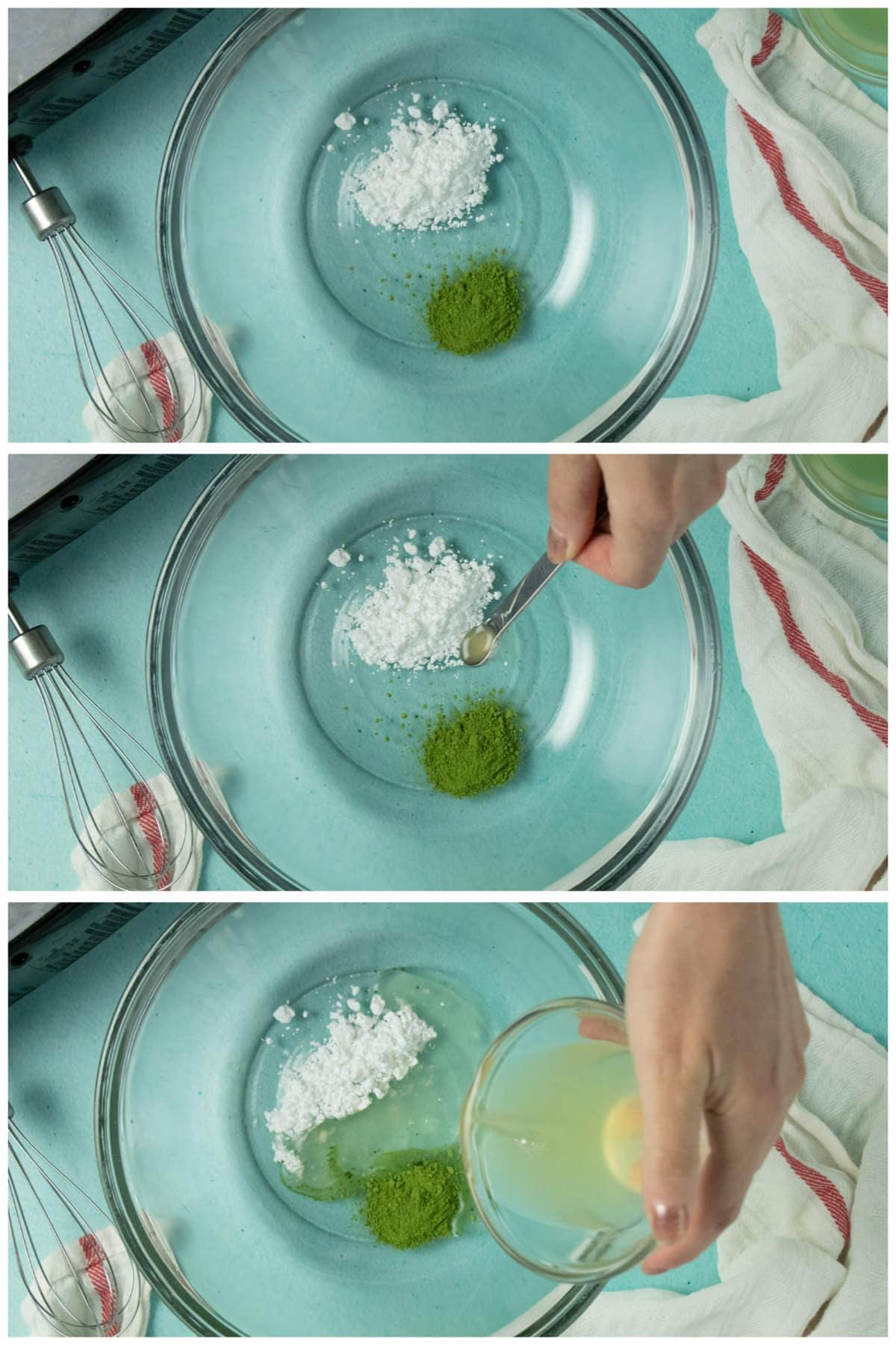 image collage showing matcha powder and powdered sugar in a large bowl, adding lemon juice, and adding aquafaba