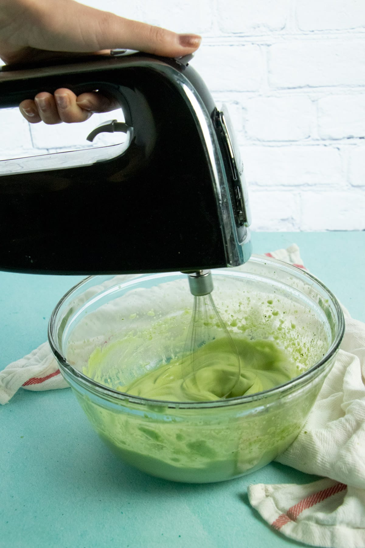 photo of the matcha mixture as it reaches the soft peaks phase