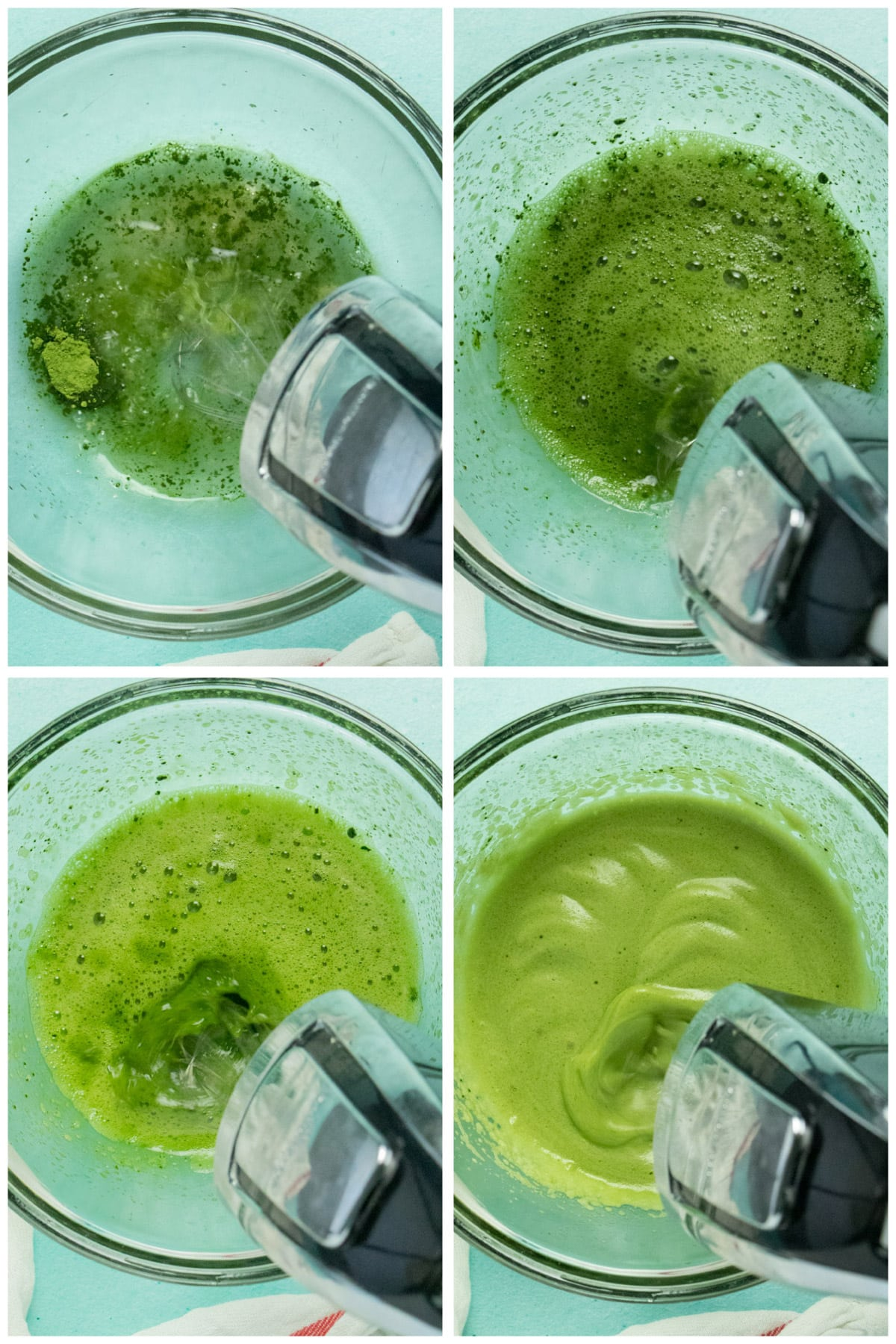 image collage of matcha whipped tea process, showing it going from frothy to foamy in 4 images