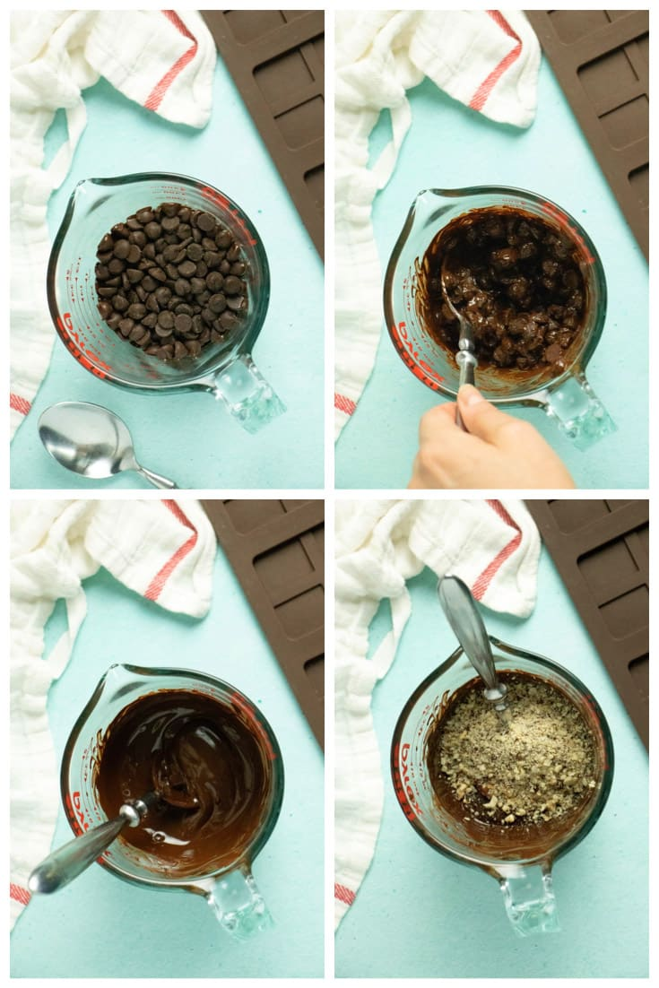 image collage showing chocolate chips after first round of microwaving, after one stir, completely melted, and with the hazelnut pieces added
