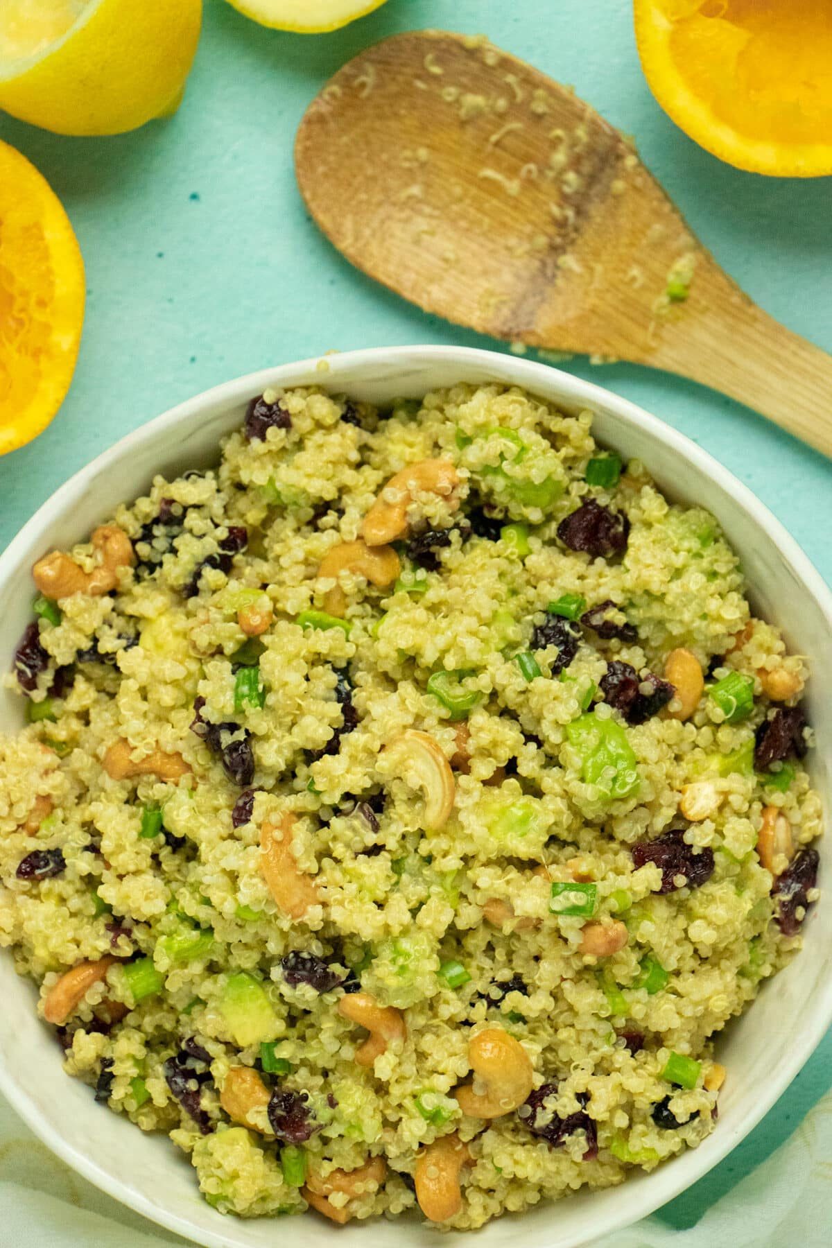 A serving bowl of Quinoa and Salad