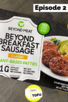 "overhead photo of Beyond Breakfast Sausage Classic package on a gray table. Text overlay reads, ""Episode 2"""