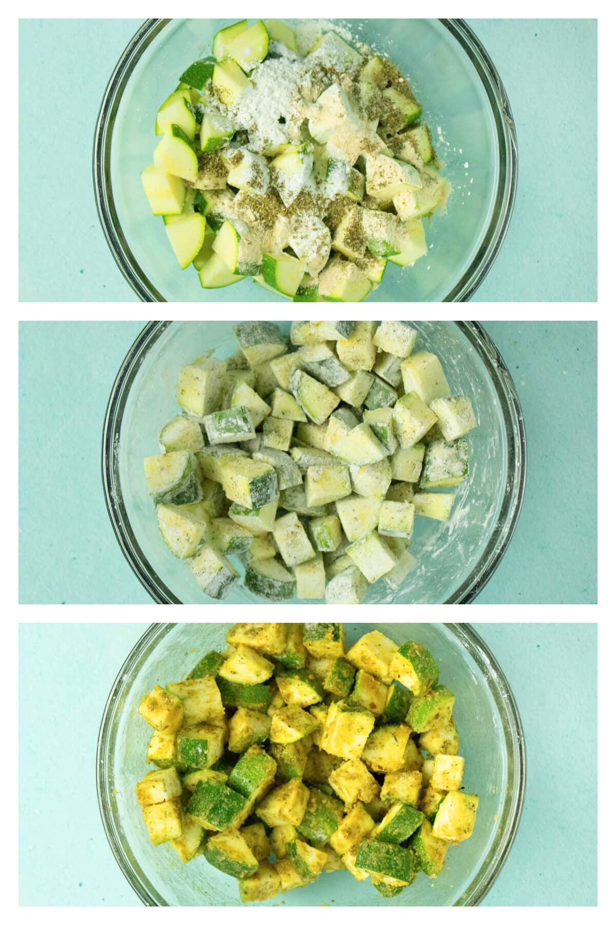 image collage showing diced zucchini with cornstarch and spices, then coated in the cornstarch mixture, then coated in nutritional yeast