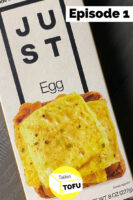 """overhead photo of Just Egg package with text overlay that reads, """"Episode 1"""". Talkin' Tofu logo at the bottom of the image"""
