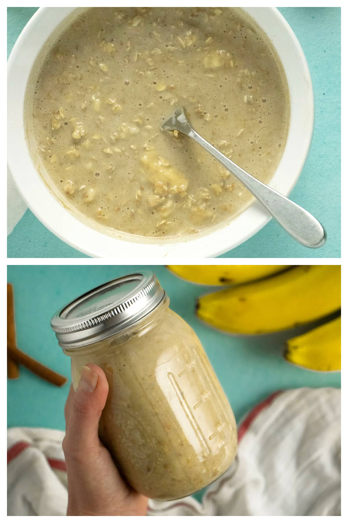 image collage showing the fully mixed oats in a bowl and in the pint jar