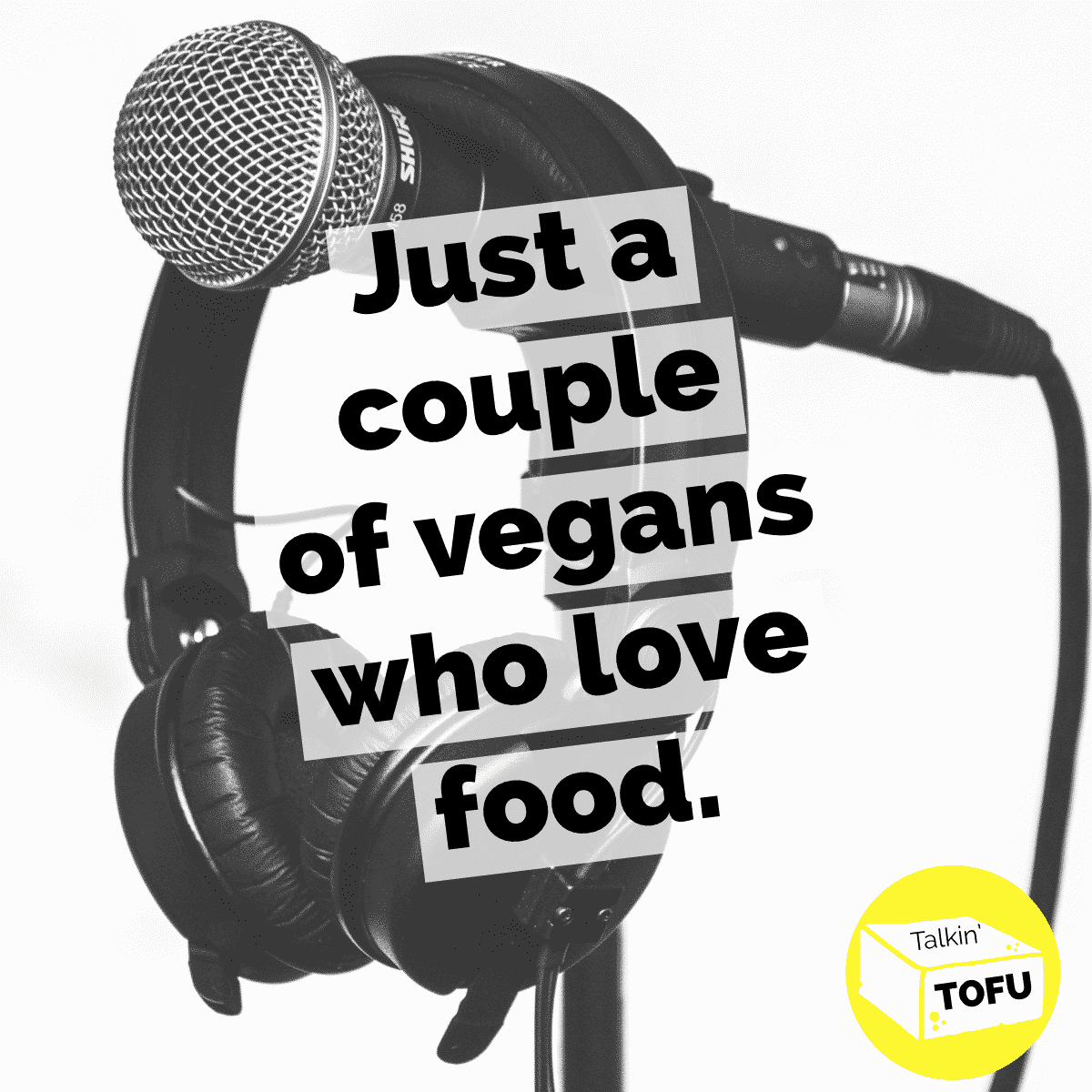 "Vegan podcast cover image: photo of a microphone with a text overlay that reads, ""Just a couple of vegans who love food."""