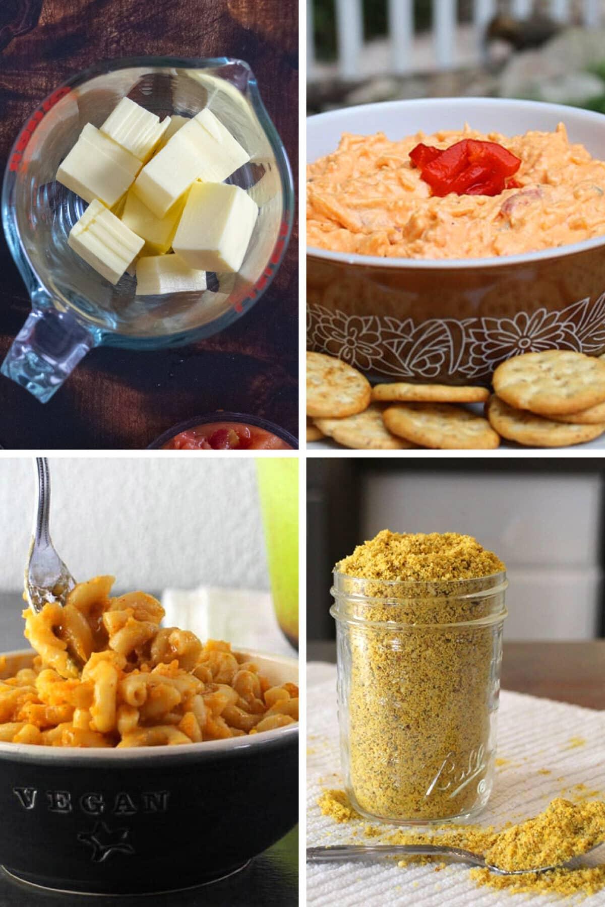 image collage showing: cubed vegan cheese, vegan pimento cheese, vegan mac and cheese, and vegan Parmesan sprinkles