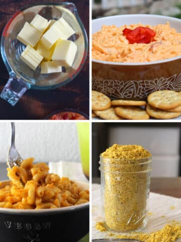 image collage showing: cubed vegan cheese, vegan pimento cheese, vegan mac and cheese, and vegan Parmesan sprinkles