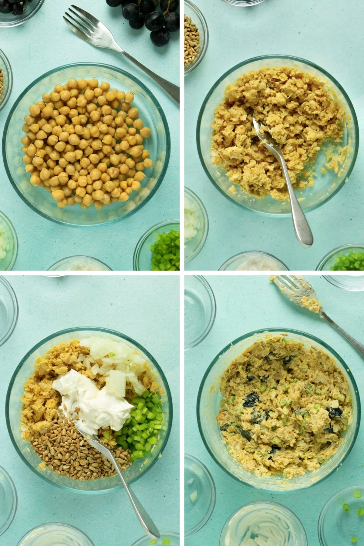 image collage of a mixing bowl with: whole chickpeas; mashed chickpeas; the celery, mayo, onion, and celery on top; and mashed chickpea salad all mixed together with the grapes