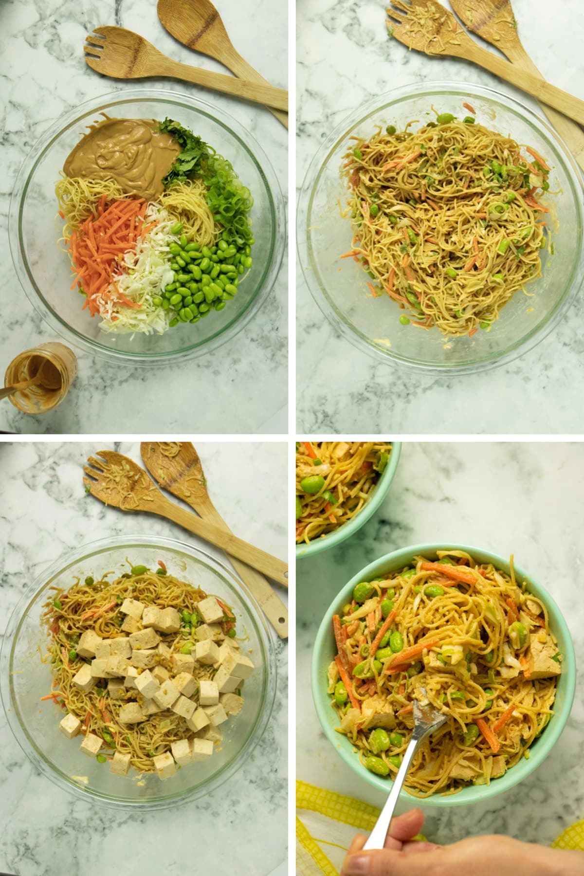 image collage of noodles with veggies and sauce on top, tossed together, with tofu added, and then with a hand taking a bite with a fork