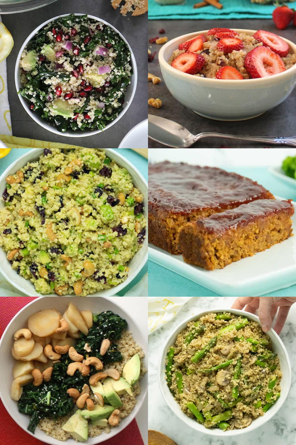 image collage of quinoa dishes: superfood salad, breakfast bowl, cranberry salad, quinoa loaf, quinoa bowl, and a pilaf