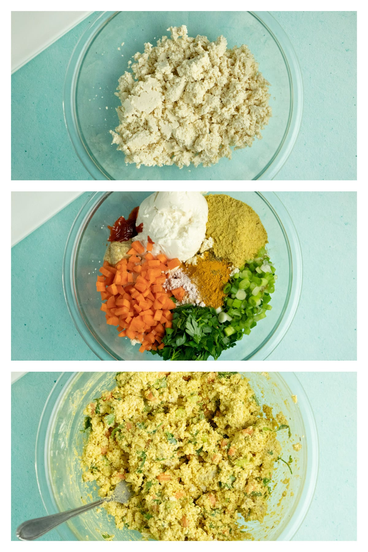 image collage showing crumbled tofu in a bowl, same bowl with other ingredients added, and the salad all mixed together