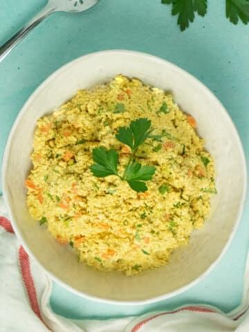 tofu egg salad in a bowl