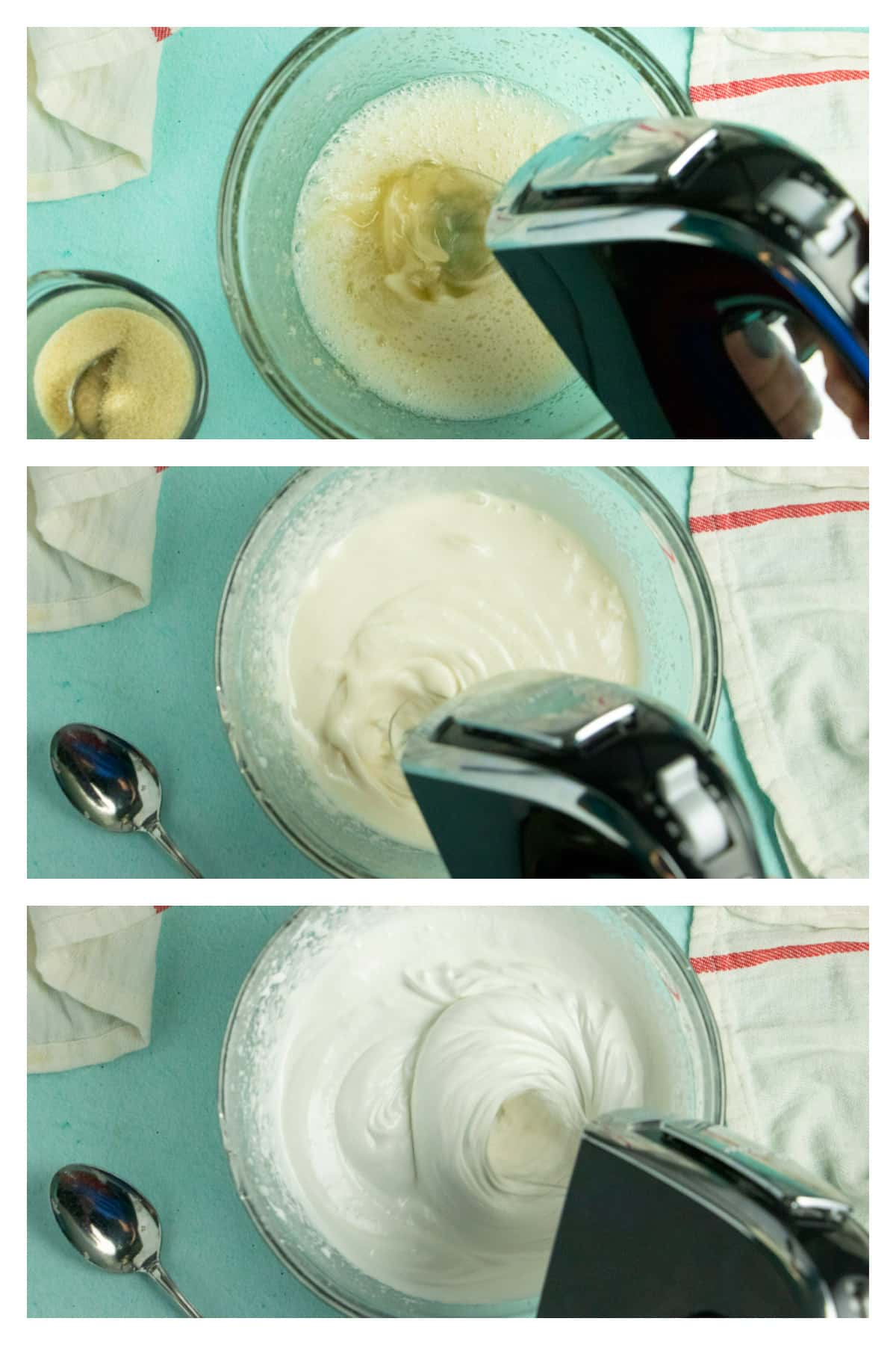 image collage showing a beater mixing aquafaba from foamy to creamy to soft peaks