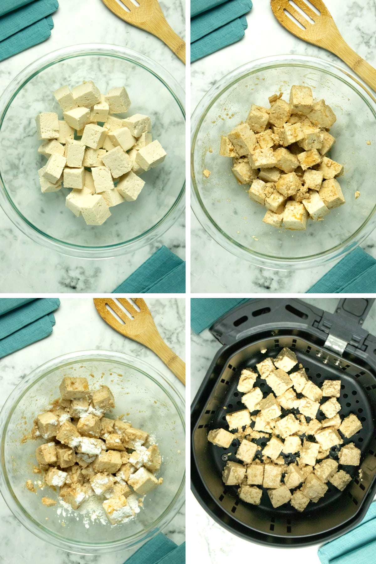 image collage of cubed tofu in a mixing bowl, tofu tossed with marinade, tofu with cornstarch added, tofu in the air fryer basket