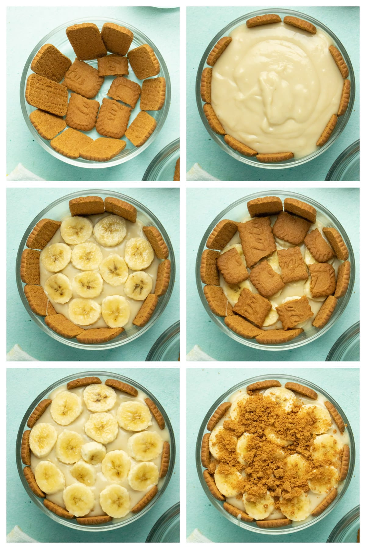 image collage showing: cookies lining the bowl, pudding layered on, banana slices layered on top, cookies layered on top, more bananas, and crumbled Biscoff cookies topping off the pudding