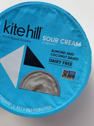 overhead photo of a package of Kite Hill sour cream