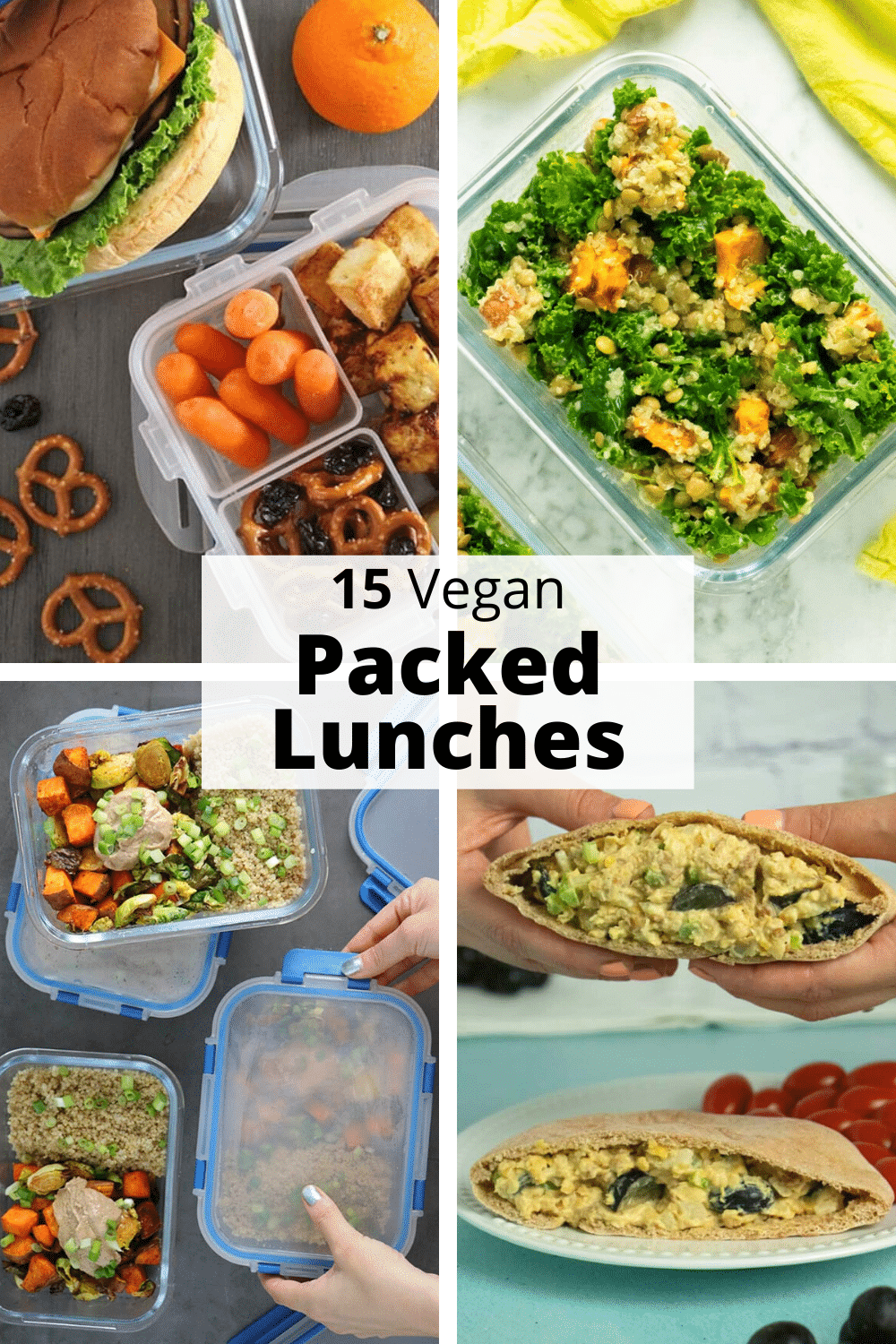 image collage of vegan packed lunches: sandwich, quinoa salad, kale salad, chickpea sandwich, text overlay