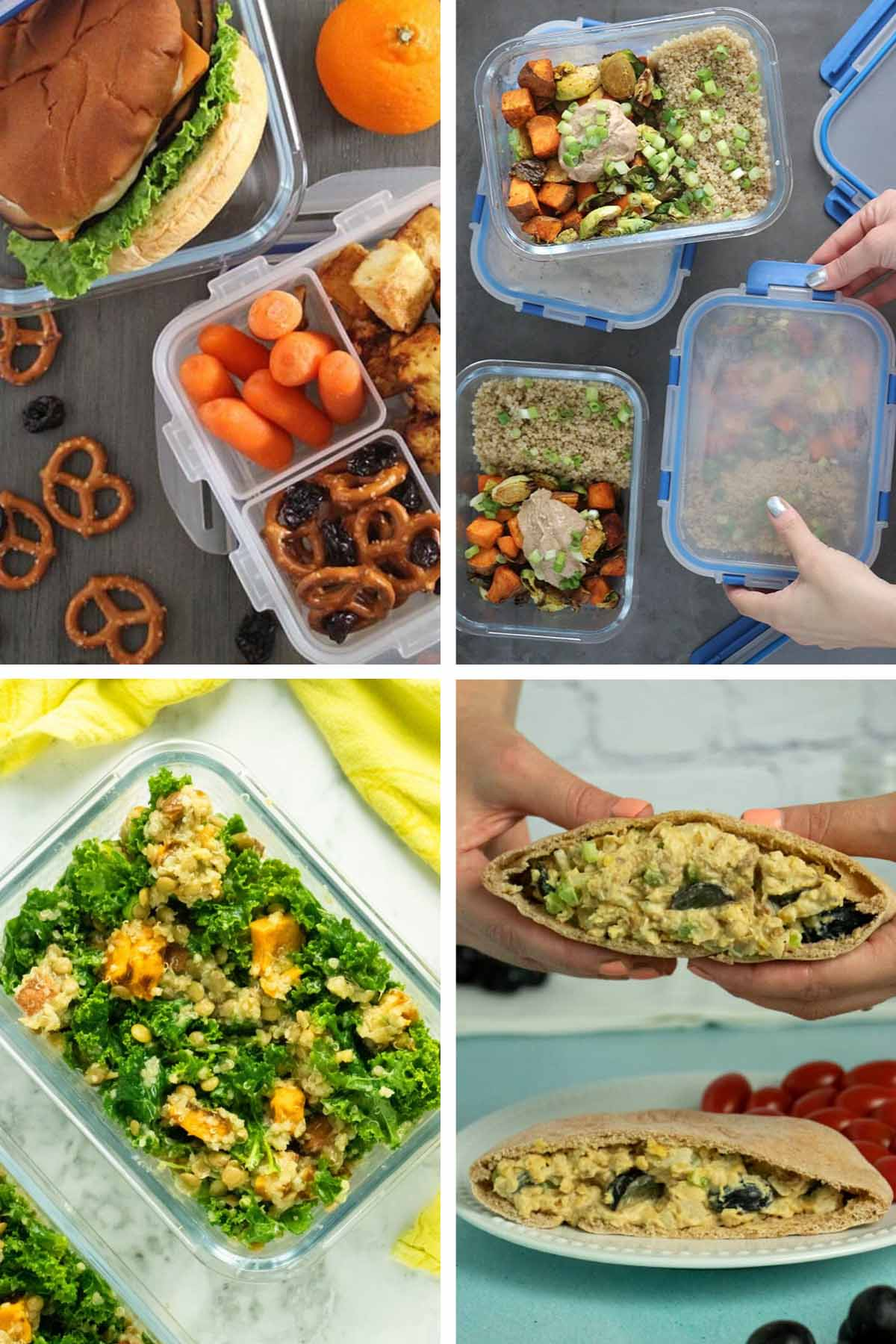 image collage of vegan packed lunches: sandwich, quinoa salad, kale salad, chickpea sandwich