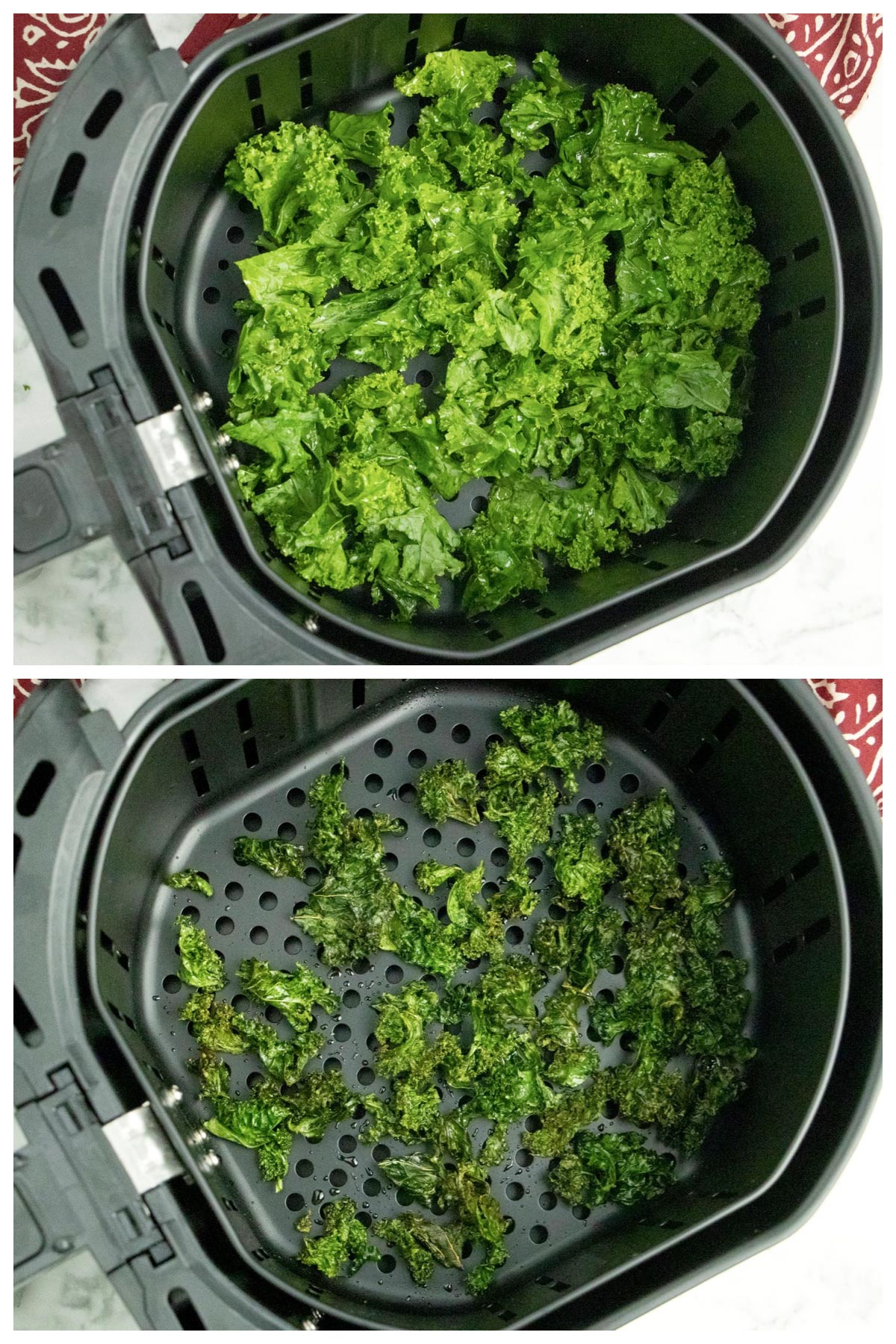 image collage of kale in the air fryer and cooked kale chips in the same basket