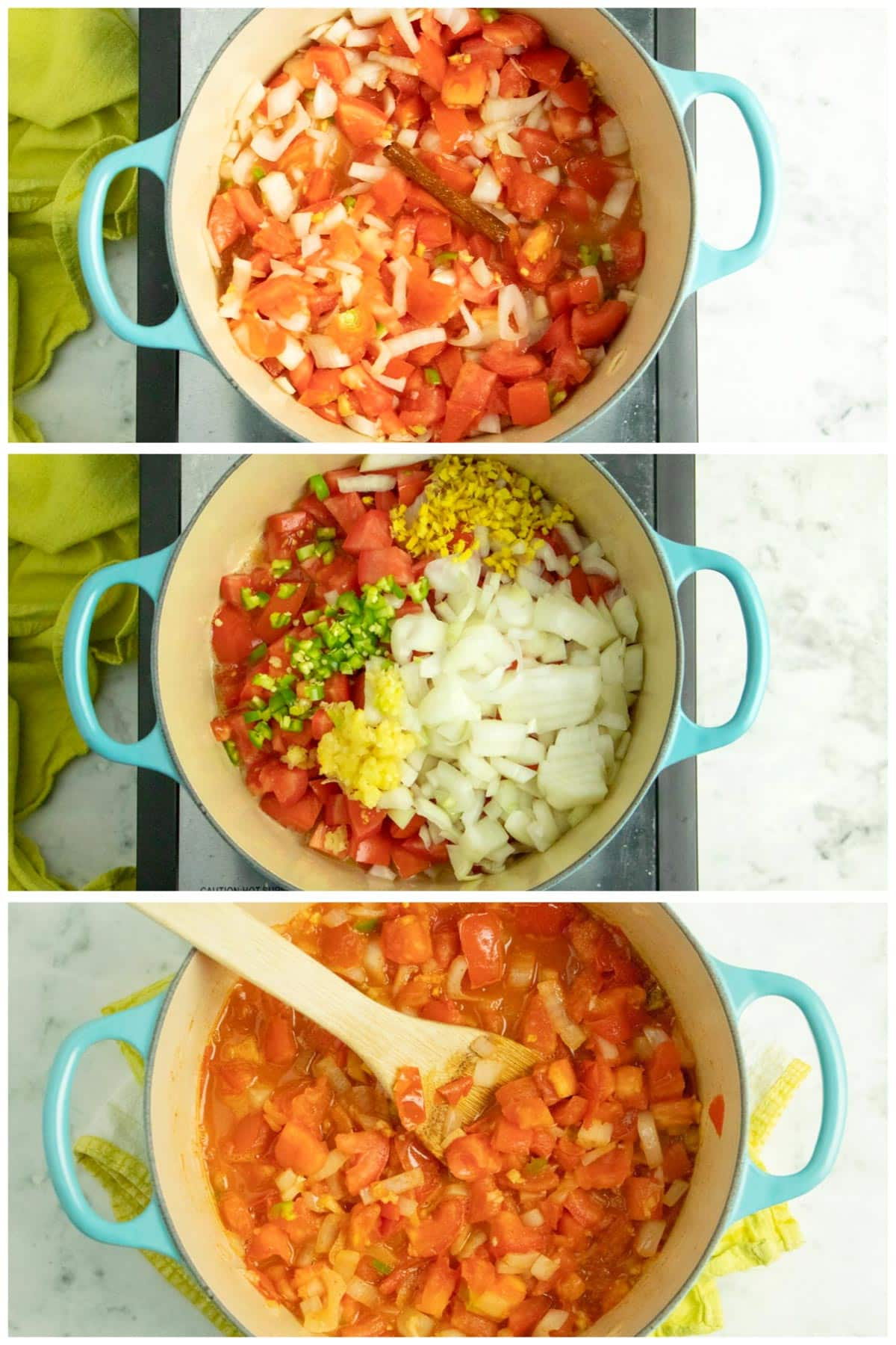 image collage showing how to make the creamy tomato curry sauce