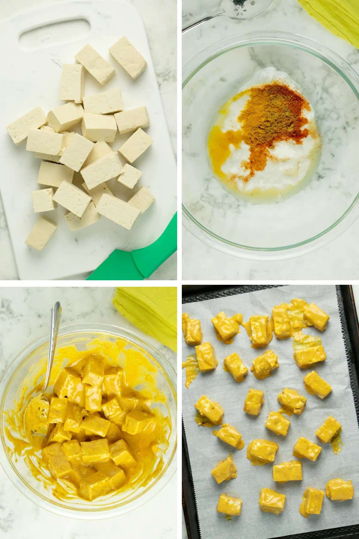 step-by-step image collage showing how to marinate and bake the tofu
