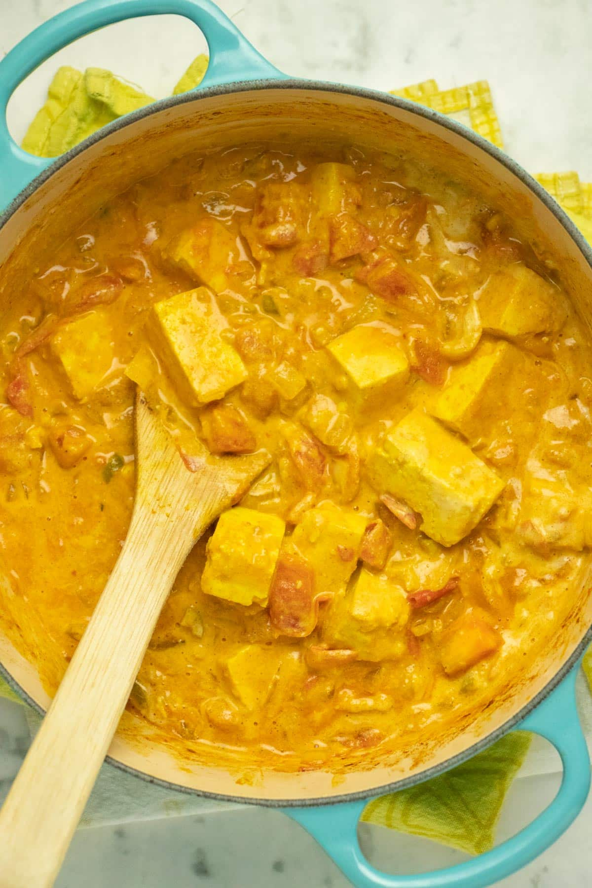pot of creamy vegan butter tofu, fresh out of the oven