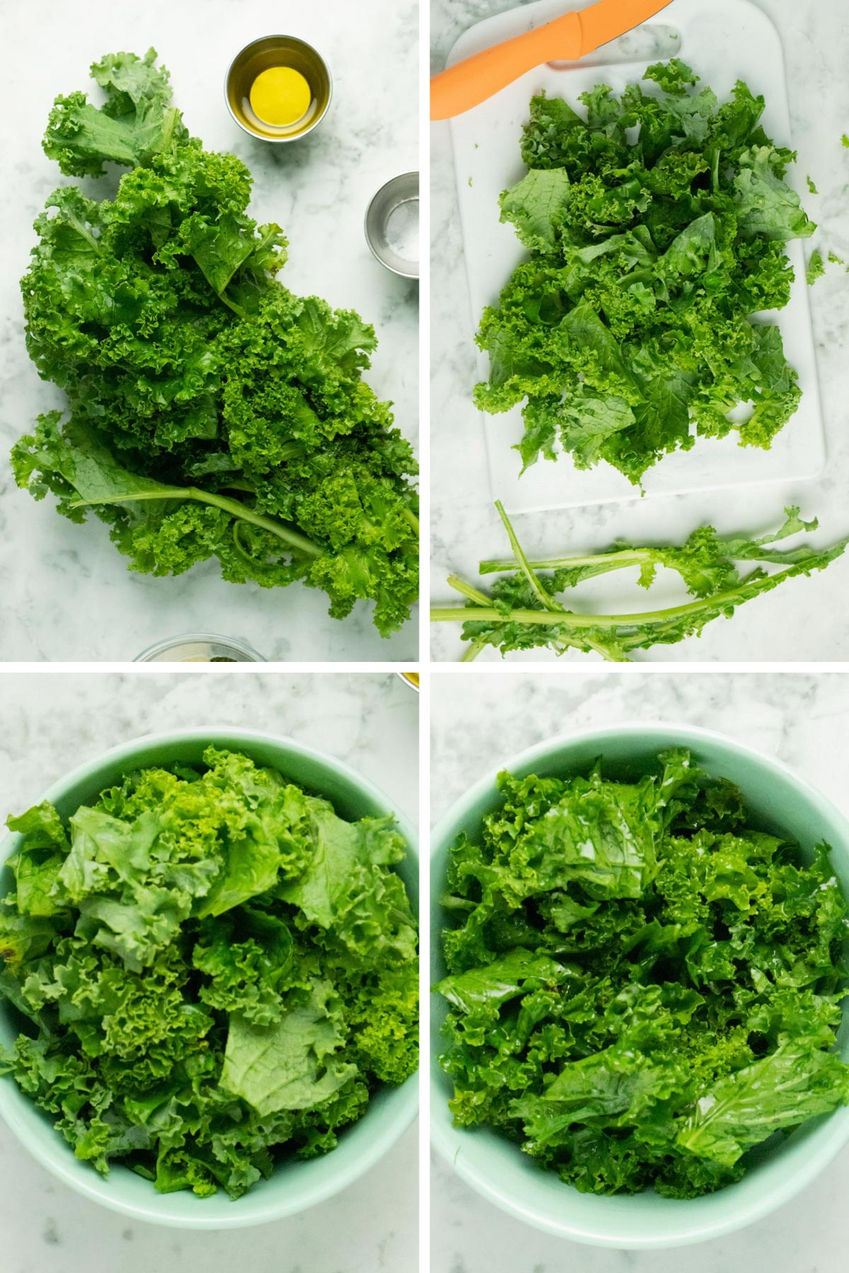 image collage of a bunch of kale, kale with stems removed, chopped kale in a bowl, and the same kale after massaging