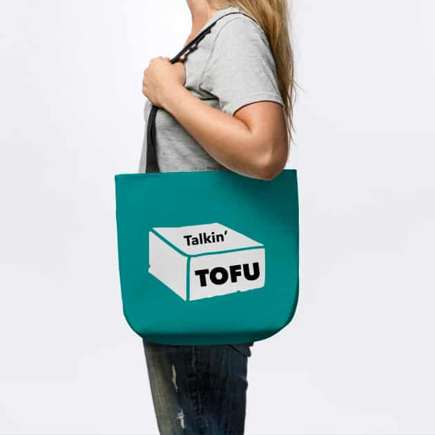 teal Talkin' Tofu tote bag