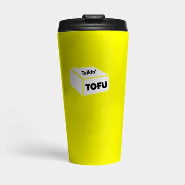 yellow Talkin' Tofu travel mug